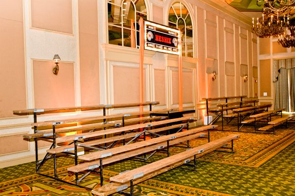 Stadium seating for a sports themed event - love it!