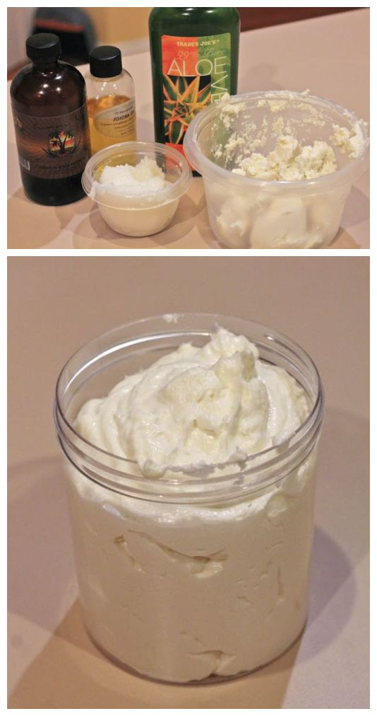 The Perfect Natural Hair Cream- DIY! (by Alex of TheGoodHairBlog) 8 oz of raw natural Shea butter 4 oz of raw coconut oil 1/2 cup of Aloe Vera gel 1 tbsp of jojoba oil 1 tbsp of Jamaican Black Castor Oil. This mix is one of my favorites to use on my hair for sealing in moisture, it also yields amazing twist outs.
