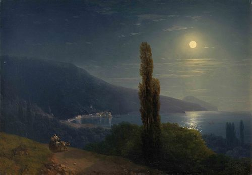 Ivan Aivazovsky (Russian-Armenian, 1817-1900), Moonlit Night, Crimea, 1859.