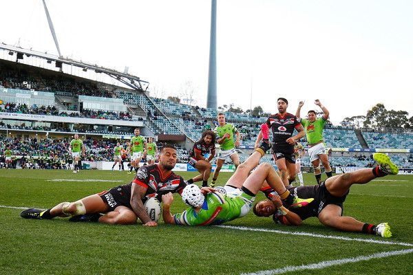Jarrod Croker of the Raiders dives to score a try during the round 20 NRL match between the Canberra Raiders and the New Zealand Warriors at GIO Stadium on July 23, 2016 in Canberra, Australia.