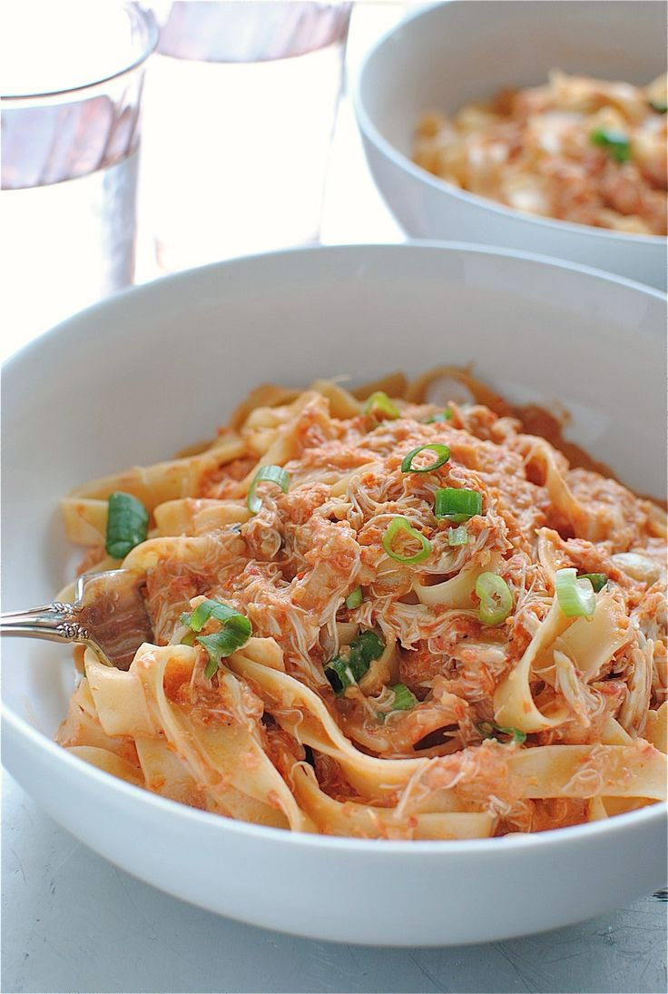 creamy tomato and crab fettuccini