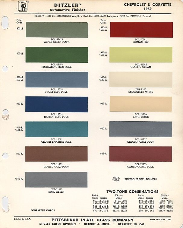 paint chart from ppg shows paint chip colors that were used for 1958 1959 chevrolet apache. Black Bedroom Furniture Sets. Home Design Ideas