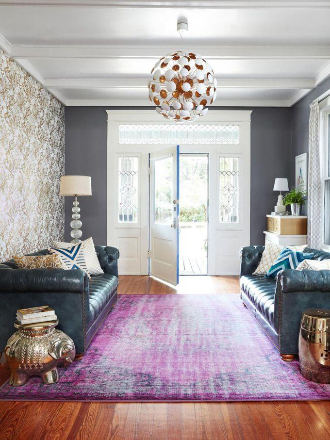 living room copper ceiling light purple interior
