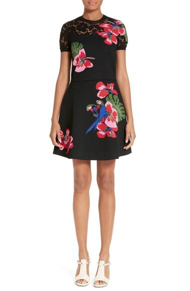 Valentino Lace Inset Tropical Dream Knit Dress available at #Nordstrom