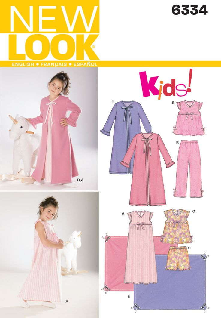 Childs Nightgown, Pajamas, Robe Sewing Pattern 6334 New Look