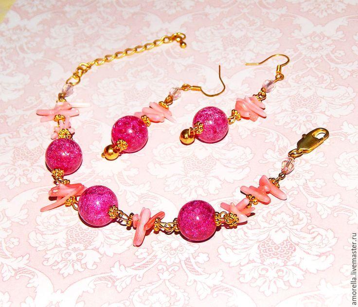 """Купить """"Неженка"""" Комплект браслет и серьги, розовый браслет, розовые серьги - розовый браслет и серьги"""