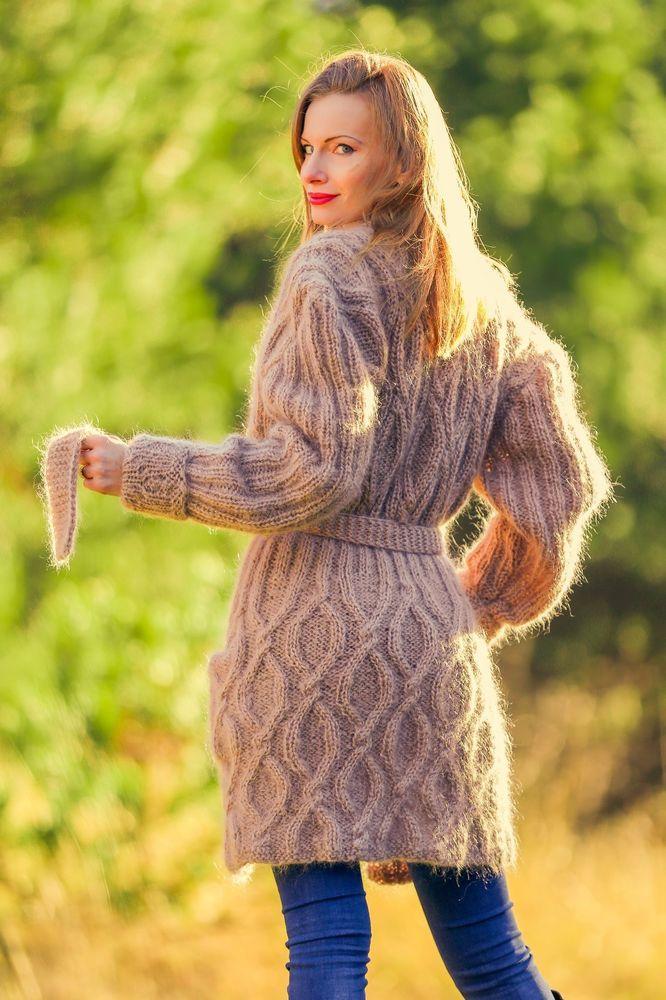274e3c1cd New unique beige long mohair cardigan sweater fuzzy handmade coat ...