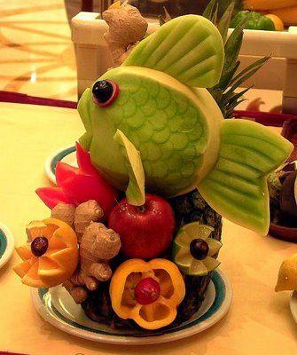 Figuras hechas con frutas