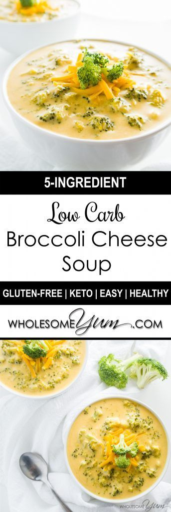 A+... 5-Ingredient Broccoli Cheese Soup (Low Carb, Gluten-free) - This easy, creamy low carb broccoli cheese soup is gluten-free, healthy, and needs just 5 ingredients. Ready in only 20 minutes!