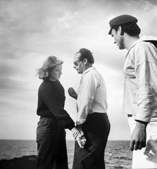 Ingrid Bergman, Roberto Rossellini and Mario Vitale on location for the filming of <i>Stromboli.</i>