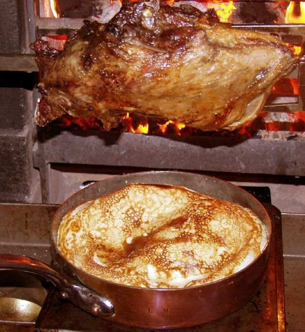 Yorkshire Pudding 'firing' in a toss-pan under the spit: Historic recipes