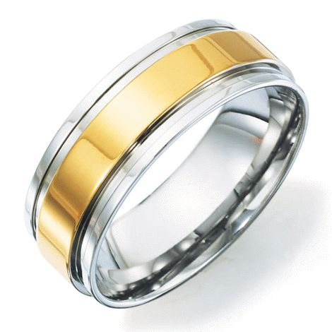 You will love this product from Avon: Mens Stainless Steel and Gold Tone Wedding Band reg.  $29.99