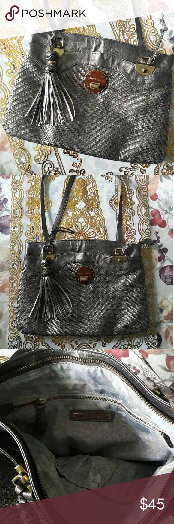 Elliot Lucca Bronze Stitched Handbag 3 compartments  Medium sized bag In good preowned condition Elliott Lucca Bags Totes