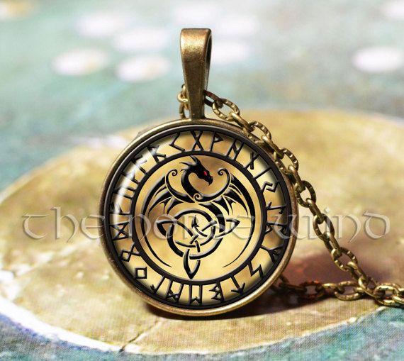 Celtic Dragon Necklace Celtic Knot Necklace Trinity Pendant Triquetra Viking Rune Pendant Bronze Asatru Viking Jewelry