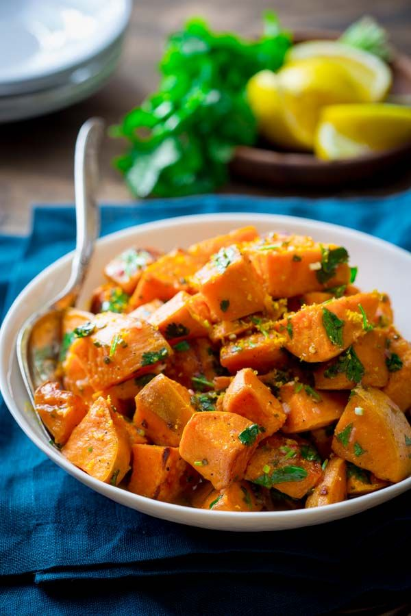 Roasted Sweet Potatoes with Citrus Dressing ~ Such lovely flavors ...
