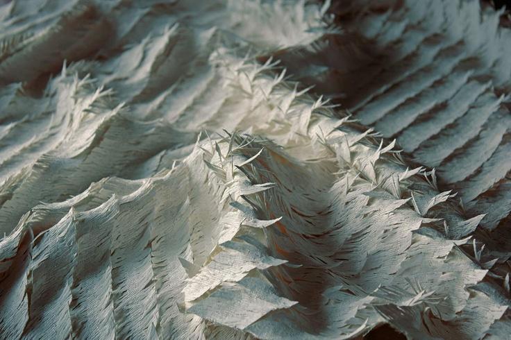 Woven textile for fashion by London based, Danish woven textile designer Signe Rand Ebbesen. via the designer's site