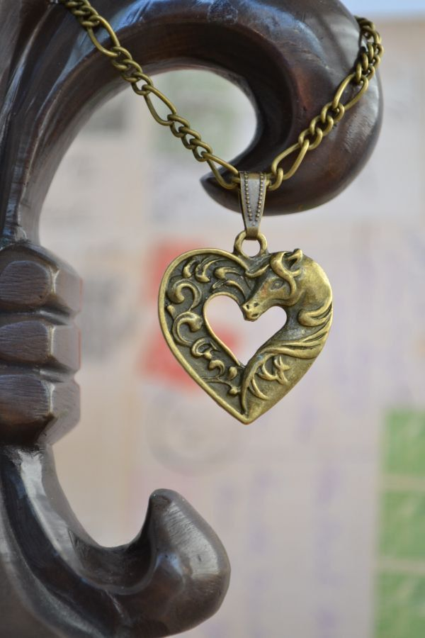 Celtic Horse Necklace, Rohan Inspired Heart Necklace, - I'd love to give this to my cousin: she loves horses :)