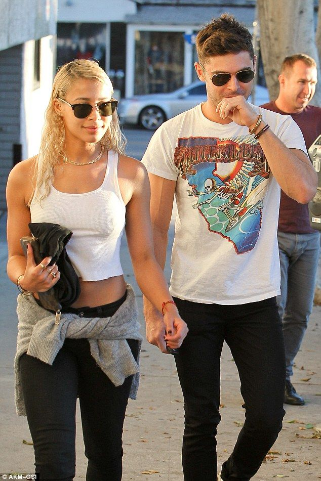 Twinsies! Zac Efron donned matching skinny jeans with his rumoured girlfriend of two months, Sami Miró, in West Hollywood on Wednesday