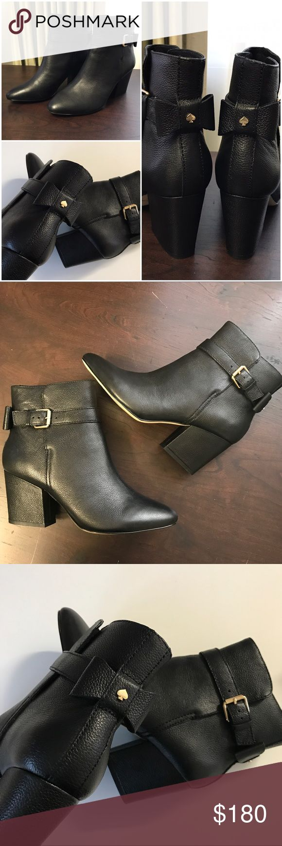 """✨$100✨Kate Spade Black Pebbled Leather Ankle Boots ✨✨WEEKEND SALE/FINAL PRICE✨✨ Steal deal • NEW WITHOUT BOX • Kate Spade Brandi Ankle Booties. Leather upper. 3"""" in block heel with cute bow tie detailing on the back. Regularly $350 + tax. ❌No trades, offers❌ kate spade Shoes"""