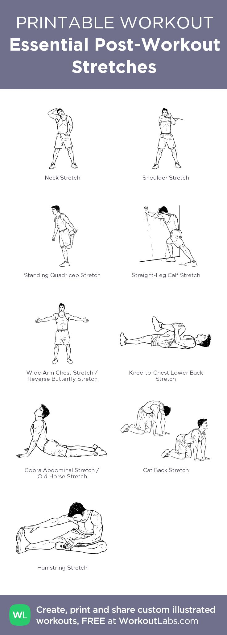Essential Post-Workout Stretches – my custom workout created at WorkoutLabs.com • Click through to download as printable PDF! #customworkout
