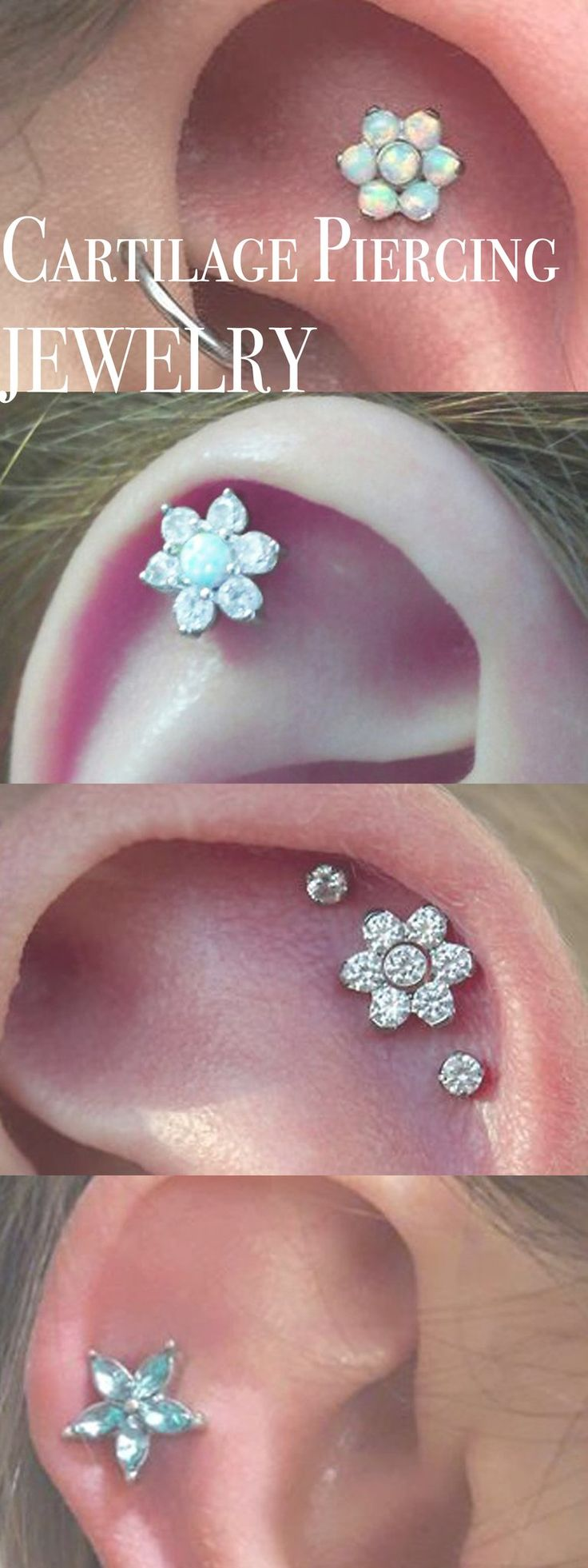 Multiple Ear Piercing Ideas for Cartilage Jewelry - Crystal Opal Flower Constellation Stud - MyBodiArt.com