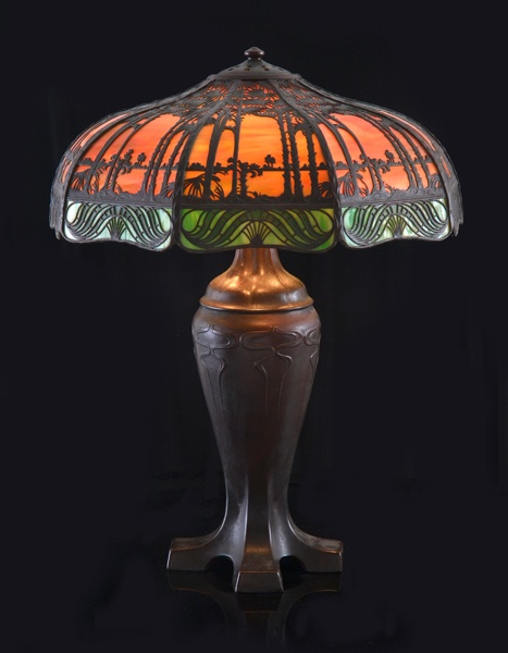 Sale LJW5726 - LJW Weekly Auction  30 May 2013 10:00 South Yarra Lot 1100 HANDEL ART NOVEAU STAIN GLASS LAMP BASE, SHADE DEPICTING TROPICAL SCENE, WITH ACORN PULL CHAINS 65CM HIGH #auction #interiors #lighting #art noveau