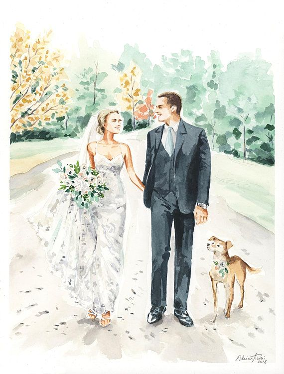 Watercolor Wedding Portrait Save The Date Couple Couple