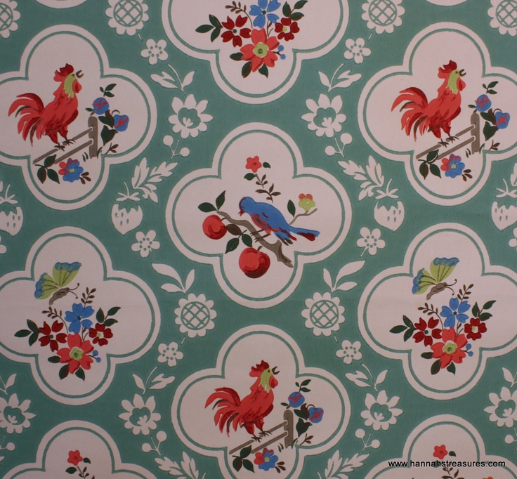 1940's Vintage Wallpaper Red and Aqua with birds cherries roosters butterfly. $14.00, via Etsy.