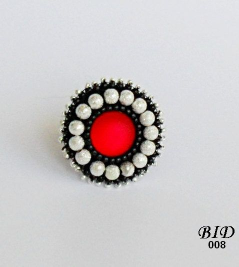 Bead Embroidery Ring Red  Silver Adjustable  Beaded Jewerly