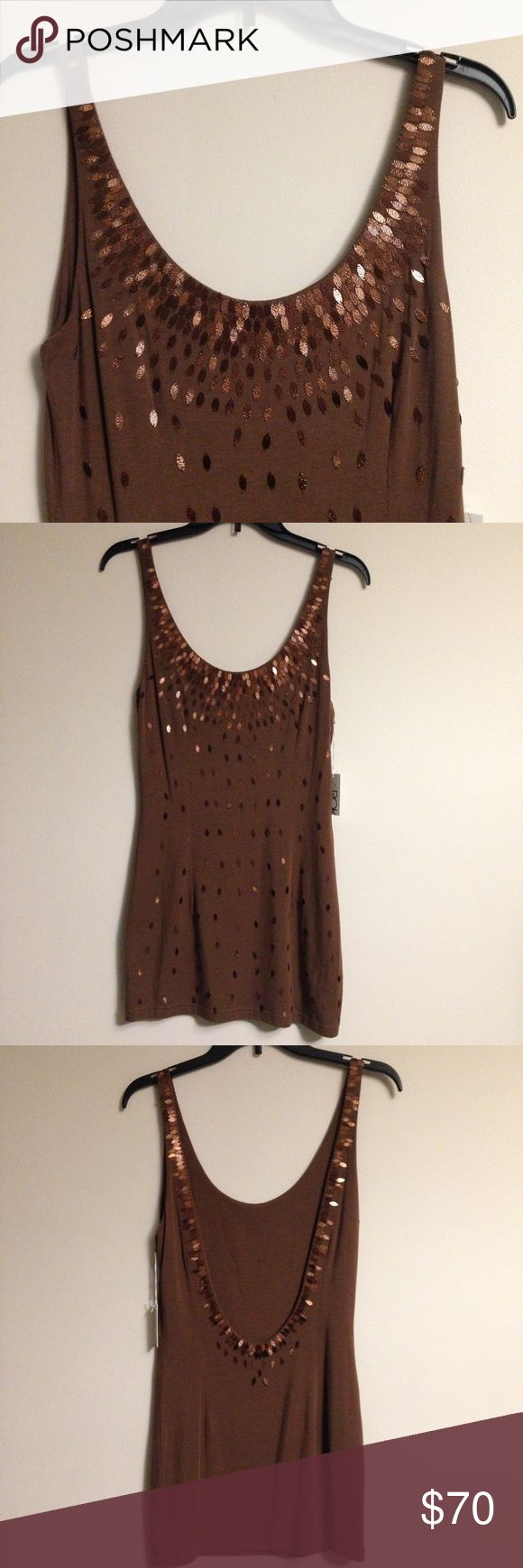 "LaRok Tank Top Brown Embellished Camisole La Rok Tank Top Brown Embellished Camisole. Bronze Sequin Top (back and Front). Length 32"", Chest 16"". Stretchy Fabric. Low Cut Back. Retail $289.00 #0212171803 ✨Please keep in mind that measurements are provided only as a guide and are approximate.  Color appearance may vary depending on your monitor settings. LaRok Tops Tank Tops"