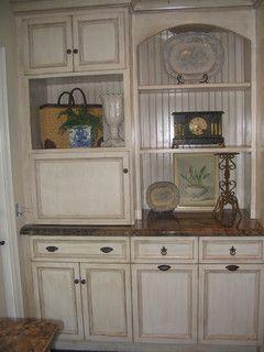 Appliance Garage/Beadboard/Recycling Bins/Antique Glazed Cabinets / Barbara Stock Interior Design