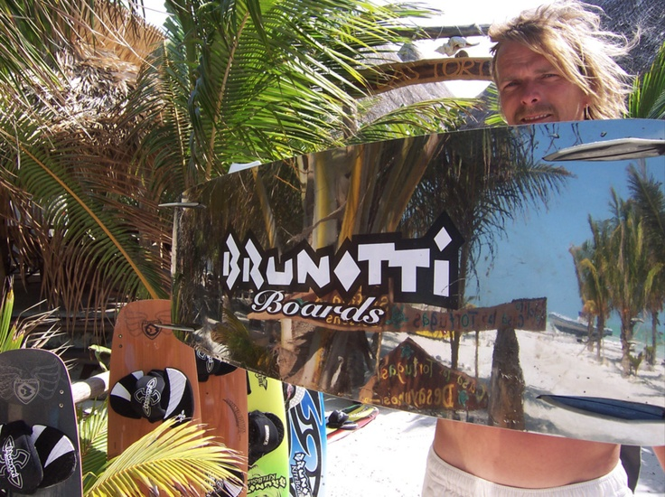 an old Brunotti kiteboard, with a mirror on the base.