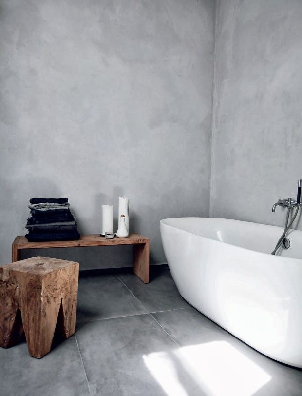 Concrete Walls And A Grey Tile Floor Look Perfect Together And Are A  Functional Idea For A Bathroom Part 37