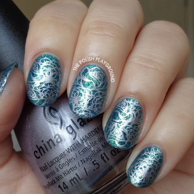 Blue Green Glass Fleck with Silver Floral Stamping