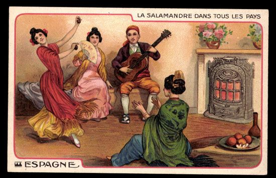 LA SALAMANDRE, heater stove in ESPAGNE. Very little corner wear. Postally used 1912. Undivided back.