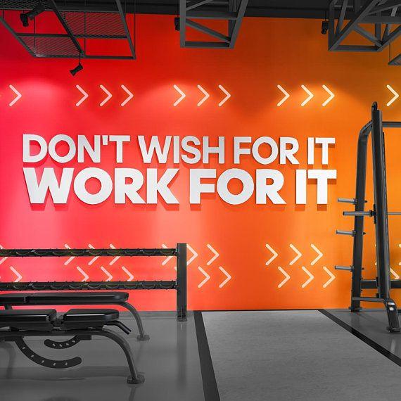 Work For It Signs Gym Wall Art Wall Hangings Gym Decor Gym Gym Stickers Wall Decor Wall Art 3d 3d Art Gift Sku Wfi Gym Decor Gym Interior Gym Design