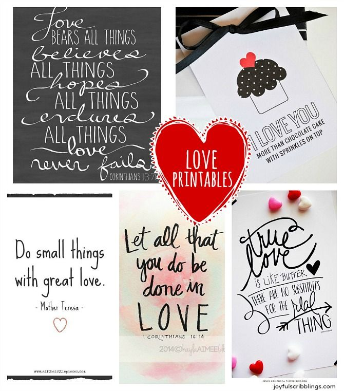 I'll be sharing quotes on Love every Wednesday this month. Below are links to five free printable love quotes.  I like to pin quotes on