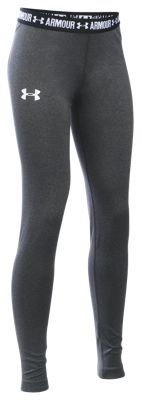 Under Armour HeatGear Armour Leggings for Girls - Carbon Heather/Black - XS