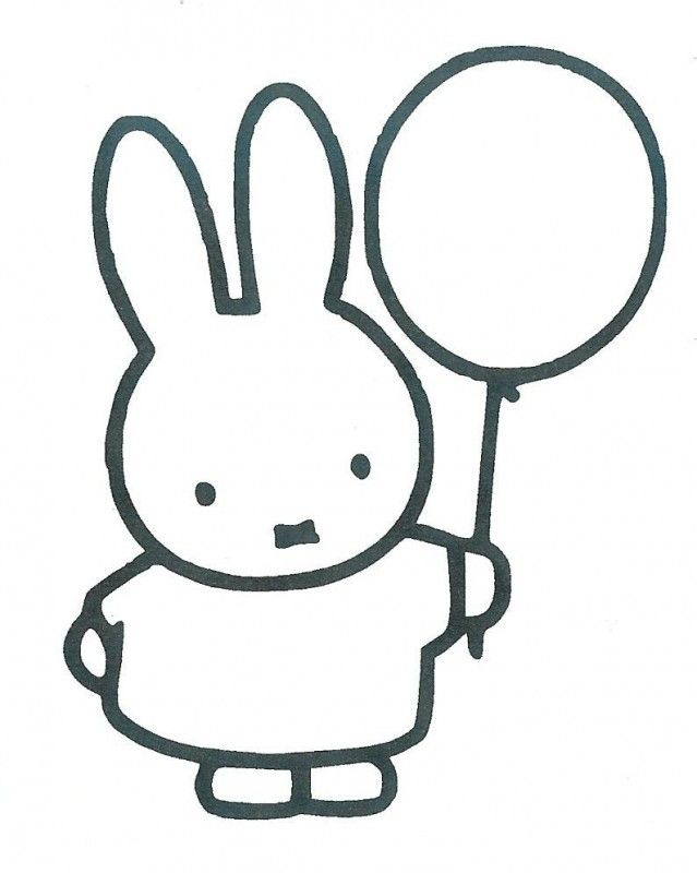 nijntje met ballon konijnentekening kleurplaten