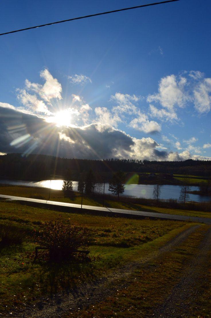 Utsikt från vår stuga . Hälsingland