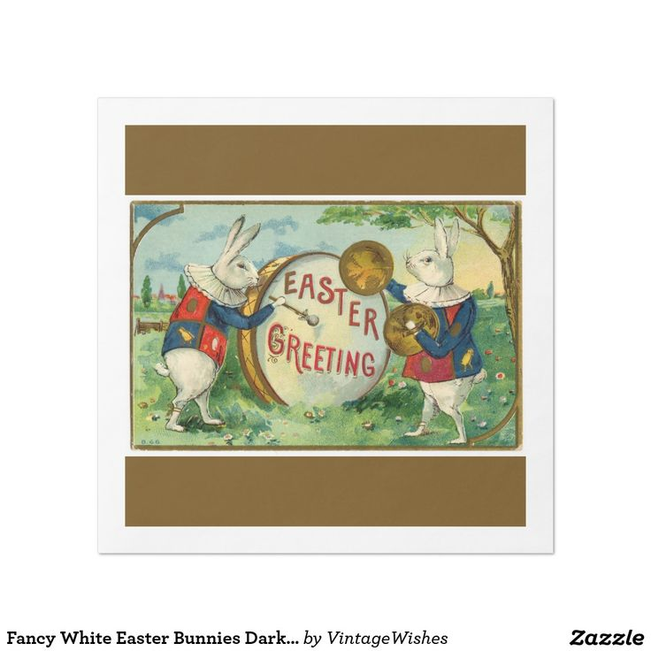 Fancy White Easter Bunnies Dark Brown Paper Dinner Napkin