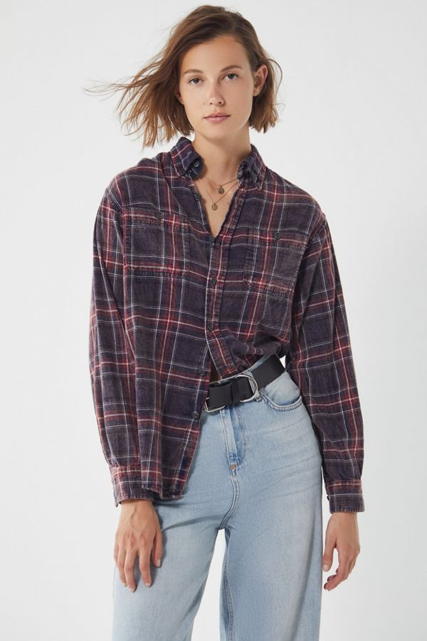 8d985bf4 Urban Renewal Remade Acid Wash Button-Down Flannel Shirt | Urban Outfitters