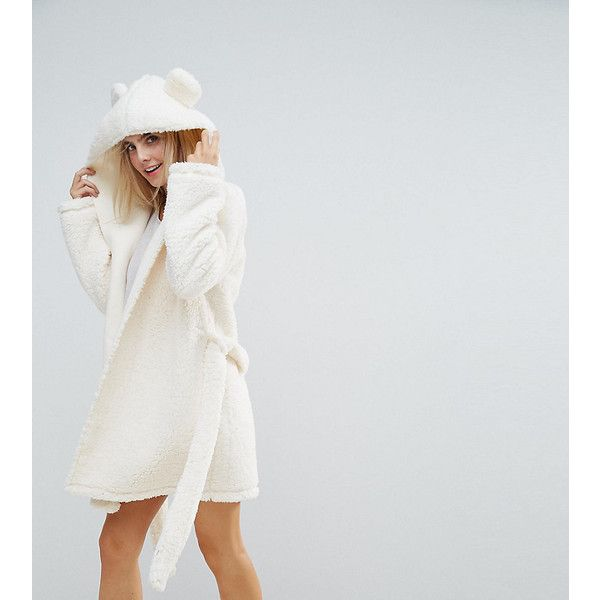 ASOS PETITE Fluffy Cloud Robe with Ears (56 AUD) ❤ liked on Polyvore featuring intimates, robes, cream, petite, short robe, hooded robe, petite bathrobes, hooded bath robe and short dressing gown