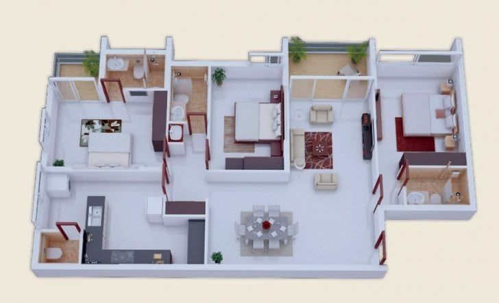 3 Bedroom House Plans Indian Style Awesome 25 More 3 Bedroom 3d Floor Plans 3d House Plans Apartment Floor Plans Bedroom House Plans