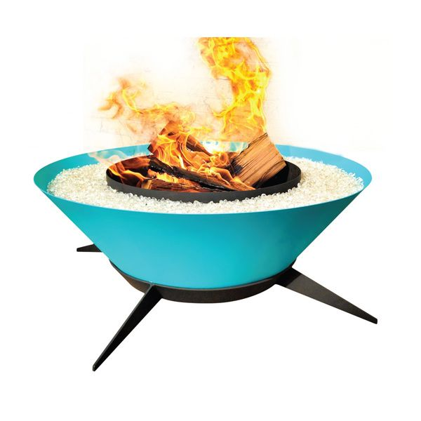Astrofire by Modfire  Banish evening chills with the über-hot Astrofire. Created from steel and sporting sleek tapered legs, it burns wood logs, propane or natural gas to provide guests s'more satisfaction.  www.modfire.com