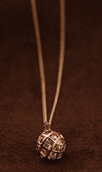 Pierced-plated rose gold zircon necklace 25102