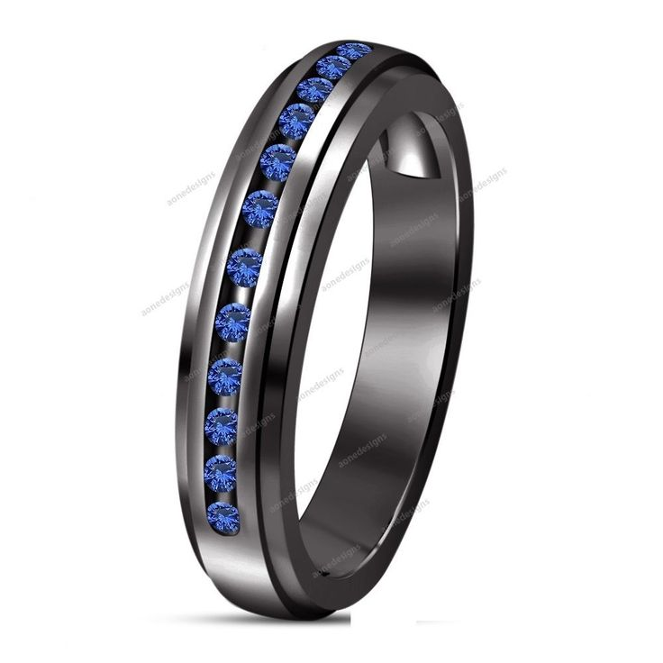 070C New Wedding 14K Black Gold Filled Blue Sapphire Womens Ladies Band Ring