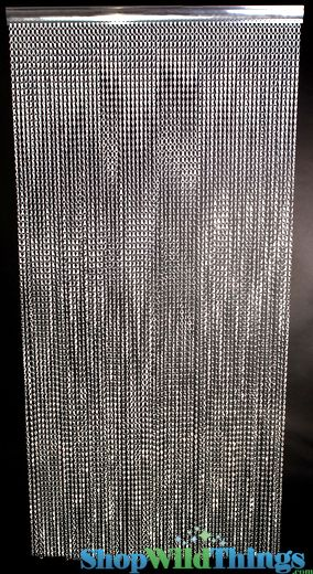 Lynx Aluminum Chain Beaded Curtains Silver 3 Ft X 6 Ft Metal Door Beads Custom Available