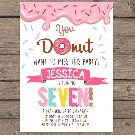 Donut Birthday Party Invitation doughnut door Anietillustration