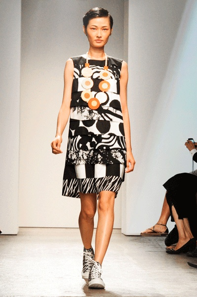 Nice dress with collection of different Marimekko fabrics. Could take this fabric combination for home decoration. Marimekko S/S 2013 in New York Fashion Week   Photo: Billy Farrell Agency